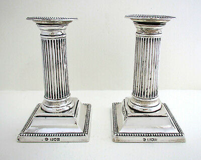 Pair of ANTIQUE Edwardian 1909 English Solid Sterling Silver Candlesticks