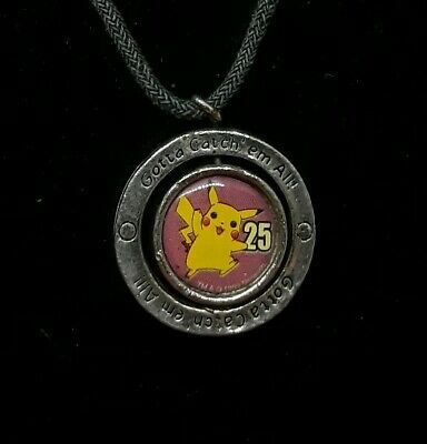 "RARE, Pokemon Pikachu Swivel Silver Pendant ""Gotta Catch em all"" Necklace"