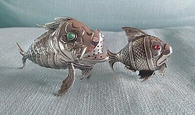 COPPIA PESCI SALE PEPE ARGENTO 800 SOLID SILVER FISHES SALT PEPPER SHAKERS 1950s