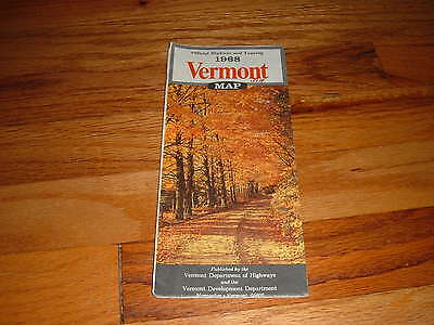 1968 VERMONT Map Official Highway & Touring Road Hiway Tour State Travel Tourist
