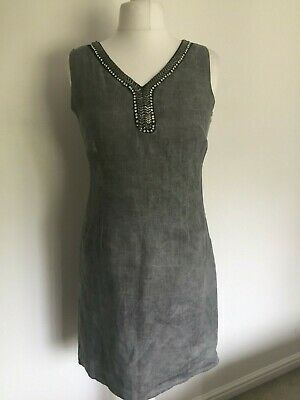 87390c17cd LINA TOMEI MADE In Italy Linen Dress Xl 16 Blue White TK Maxx ...