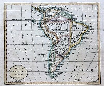 1794 Map of South America by Russell, original engraved outline colour, amazonia