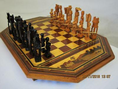VINTAGE AFRICAN CHESS SET K 112 mm AND BOARD LARGE MADAGASCAR MERINA TRIBE