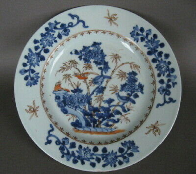 2 Qianlong period Blue and white porcelain dishes, birds and flowers.