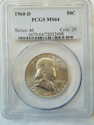 1960 D 90% silver Franklin half dollar  PCGS  MS64   (#2498)