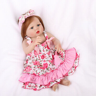 "22"" Handmade Girl Doll Newborn Gifts Full Body Vinyl Silicone Reborn Baby Dolls"