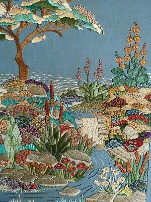 Detailed Vintage Hand Embroidered English Garden Flowers Stream French Knots