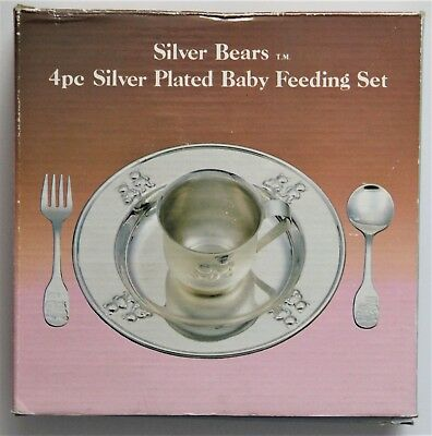 Silver Bears Silver Plated Baby Feeding Set 4 Piece NIB #1530 Hong Kong 1987