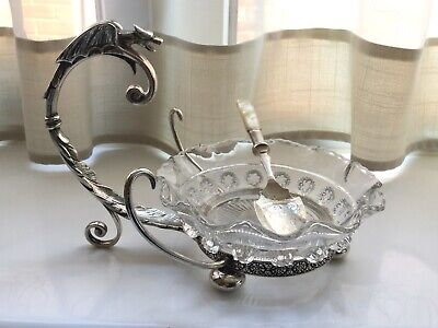 Superb Antique Victorian James Dixon Silver Plated And Glass Preserve Dish
