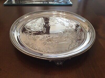 Beautiful Victorian Elkington Silver Plated Chased Footed Drinks Tray Circa 1882