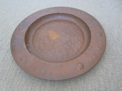 Antique Arts and Crafts Copper Tray, 17.25 inch diameter