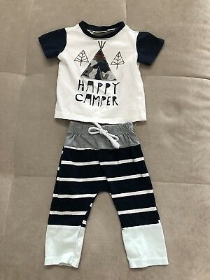 First Impressions Baby Boy Outfit Shirt Pants Size 3-6 Month Happy Camper Blue