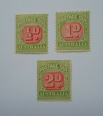 Australia 1909-1910 Postage due mint stamps