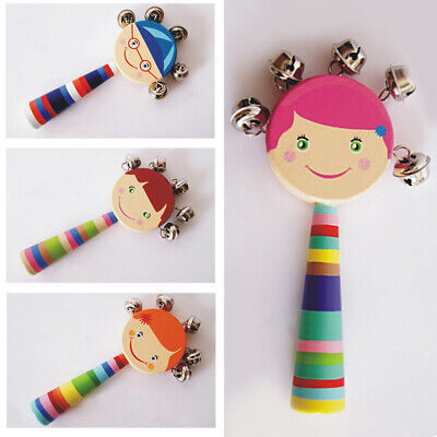 Baby Rattle Ring Wooden Handbell Baby Toys Musical Instruments for Kids Gift