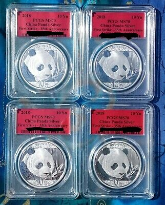 2018 Silver Panda 10 Yuan Coin, First Strike, 35Th Anniversary, Ms70 Lot Of 4