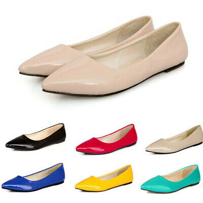 6bbd5a91064ad New Womens Ballet Flats Point Toe Pumps Ladies Slip On Casual Shoes Plus  Size