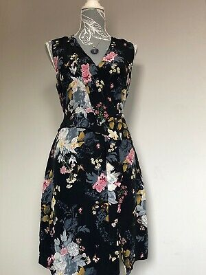 6f1b51b8b6dc Oasis Floral Butterfly's Shift Dress Navy 100% Silk - Size 12 Wedding Party