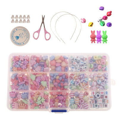 500Pcs Colorful Acrylic Plastic Beads for DIY Bracelet Necklaces Kid Jewelry