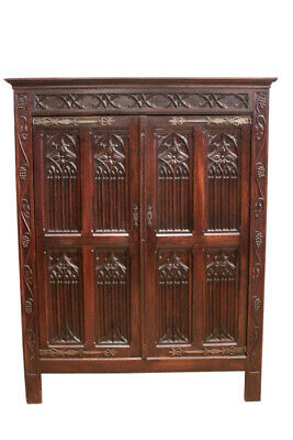 Antique French Gothic Storage Cabinet or Armoire, 19th Century, Oak
