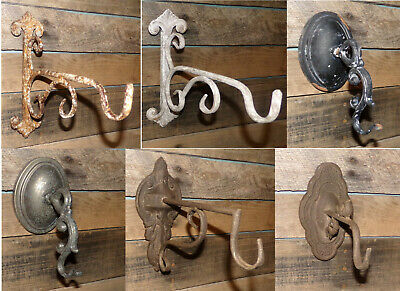 Architectural Wall Hooks Large Ornate Rustic Industrial Lamp Lantern Hooks Aged
