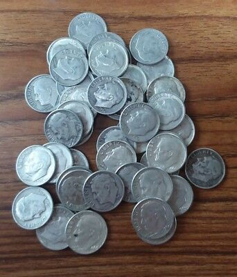 Roosevelt Dimes - 90% Silver - Roll of 50 coins - $5.00 face value