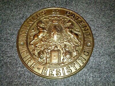 "Superb Antique ""milners""brass Safe Plate /plaque 212 Fire-Resisting 8.5"" See!"