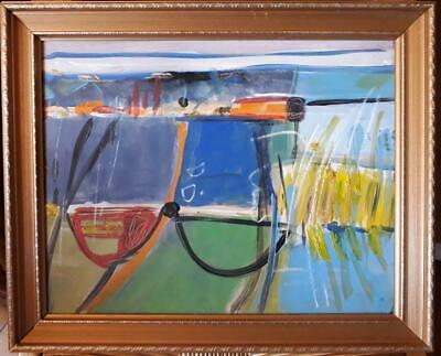 "Brilliant Cornish School Abstract Study Titled ""winter Tide With Boats Hayle"""