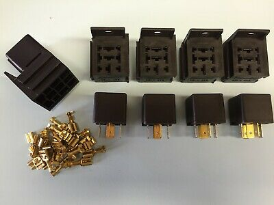 5 x 30/40 Amp 5 Pin Changeover Relays with holders and terminals