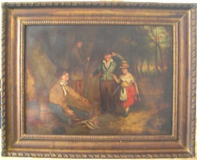 """Superb, large antique Georgian naive oil painting, circa 1820 """"The Fish seller"""""""