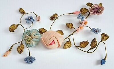 Antique French Silk Ribbonwork Flowers Rose Ombre Passementerie Trim Millinery
