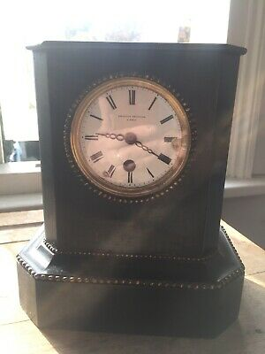 Antique French Ebonised old black wooden Mantel Clock Grignon Meusnier A Paris
