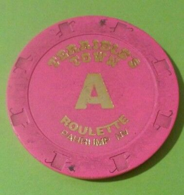 Terribles Town Casino Pahrump, Nevada Pink Letter A Roulette Gaming Chip!