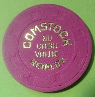 1980's COMSTOCK CASINO RENO, NV. PURPLE NO CASH VALUE CHIP GREAT FOR COLLECTION!