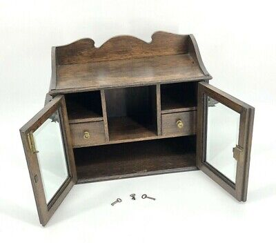 Antique 19th Century Oak Tobacco Cabinet Pipe Stand With Bevelled Glass Doors