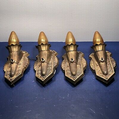 Wired Set Four 4 Antique Brass Wall Sconce Sconces Rewired 74B