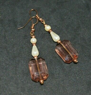 Copper Crystal and Pearl Earrings. Handmade in the UK