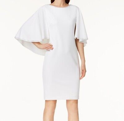 186ddbe5 Calvin Klein NEW White Womens Size 8 Embellished Capelet Sheath Dress $139  082