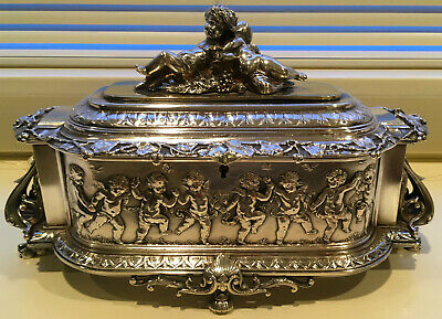 "Victorian Silver-on-Brass 11"" Jewelry Casket Coffret, Cherubs & Lion's Paw Feet"