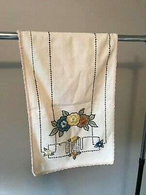 Arts & Crafts antique embroidered Table Runner, floral color stamped