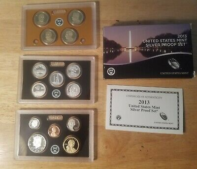 2013-S US Mint Silver Proof Set w/box and COA-14  coins total