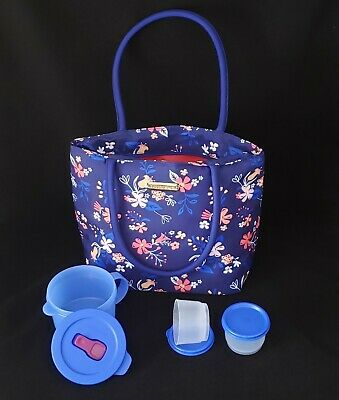 FREE SHIP Tupperware Falling for Floral Lunch Set insulated bag tote New  Blue