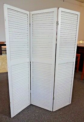 Vintage 3 Panel Hinged Screen Room Divider White Wooden Shutters Double Hinged