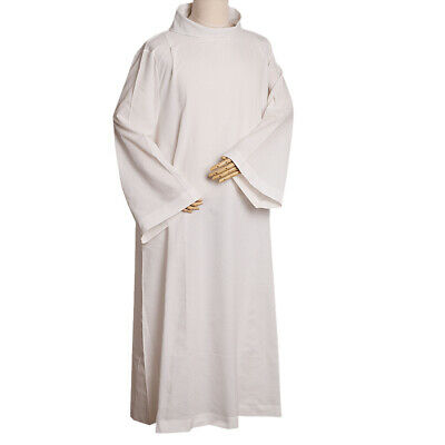 Catholic Priest Mass Alb Vestments Robe Roll Collar Solid Clergy