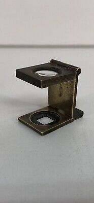 Small Vintage Fold Up Magnifier Brass Possibly Military Map Reading Glass