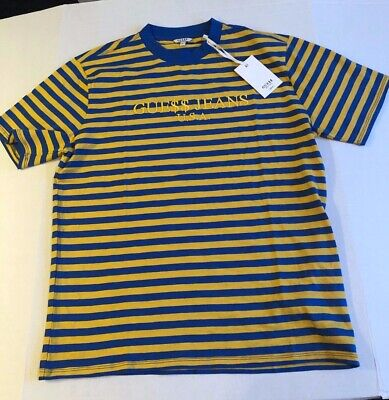 2054c689a7 NWT Guess Jeans USA ASAP Rocky Yellow Blue Striped Mens Tee Shirt David  Reactive