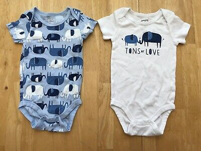 Baby Boys 9 Month Elephant Blue White Tons Of Love Short Sleeve Bodysuits Shirts