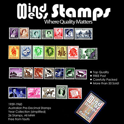 Australian Pre-Decimal Stamps 1959 - 1960 Year Set (26) Nicely Centred, all MNH