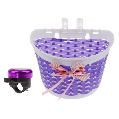 Childs Kids Bicycle Front Basket + Cycling Handlebar Ring Bell Horn Alarm
