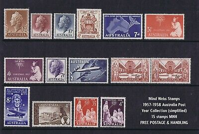 Australian Pre-Decimal Stamps 1957 - 58 Collection Simplified (15) MNH *NICE LOT
