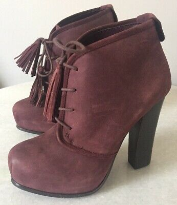 dc28f60ddc9 Steve Madden Sashayy Tassel Ankle Boots 7.5 Leather Booties Lace Up Wine  Plum
